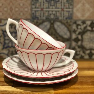 Set of Anthropologie Striped Cups & Saucers